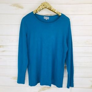 NWT JM Collection Petites Size Teal Solid Sweater